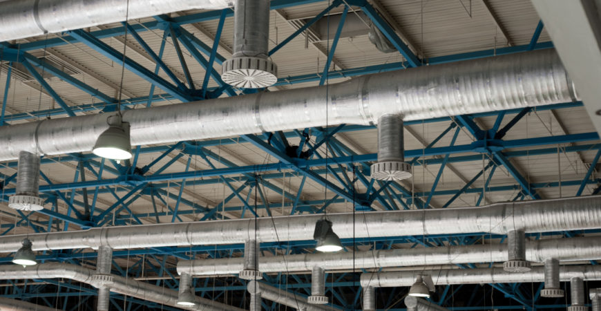 Ventilation system on the ceiling of large buildings